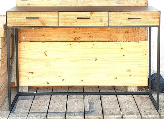 קונסולה מתכת 3 מגירות עץ
