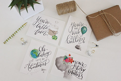 Greeting Card Set | Illustrated & Hand Lettered