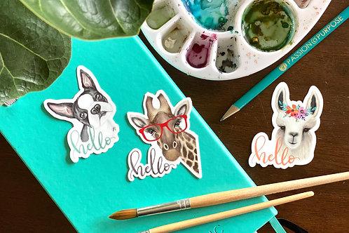 Hello | Watercolor Stickers