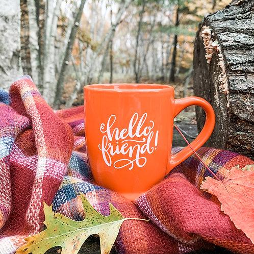 Orange 'Hello Friend' Mug