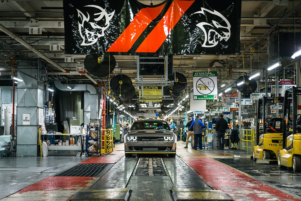 2019 Dodge Challenger SRT Hellcat Redeye models are now rolling off the line as production of the 797-horsepower muscle car started today at the FCA US Brampton Assembly Plant (Ontario, Canada).