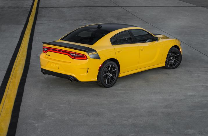 "2017 Dodge Charger Daytona with cutout ""Daytona"" deck-lid to rear-quarter graphics."