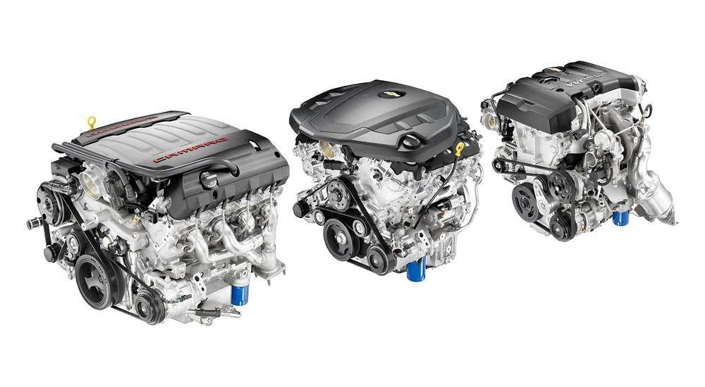 The all-new engine line up for Camaro features (left to right) the Small Block 6.2L V8 LT1, an all-new 3.6L V6 and an Ecotec 2.0L Turbocharged four cylinder.  All three engines feature a direct injection fuel system and continuously variable valve timing.