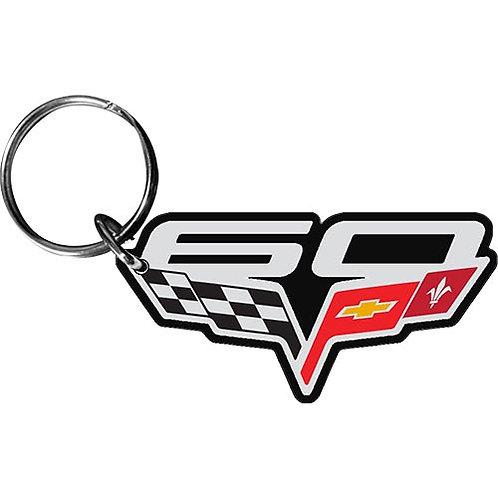 60th Anniversary Corvette Emblem Keychain