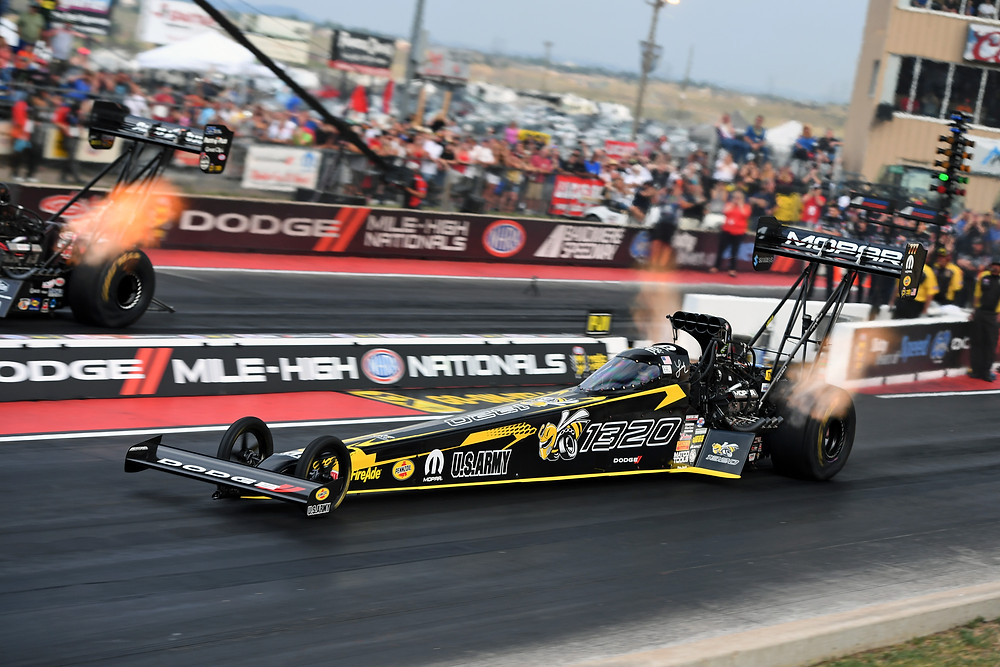 "NHRA Top Fuel driver Leah Pritchett's dragster will once again feature special ""Angry Bee"" graphics, a callout to the new Dodge Challenger R/T Scat Pack 1320, at her sponsor's title event, the Dodge NHRA Nationals at Maple Grove Raceway, located near Reading, Pennsylvania, scheduled for September 13-16, 2018."