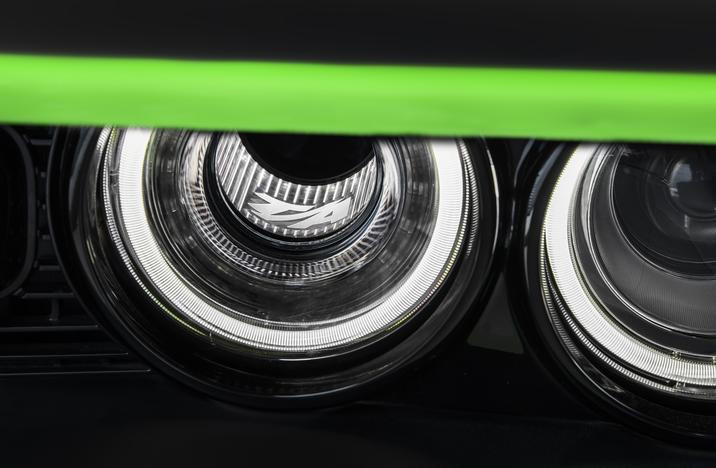 "2017 Dodge Challenger T/A includes the new ""Air Catcher"" headlamps with LED-illuminated T/A logos."