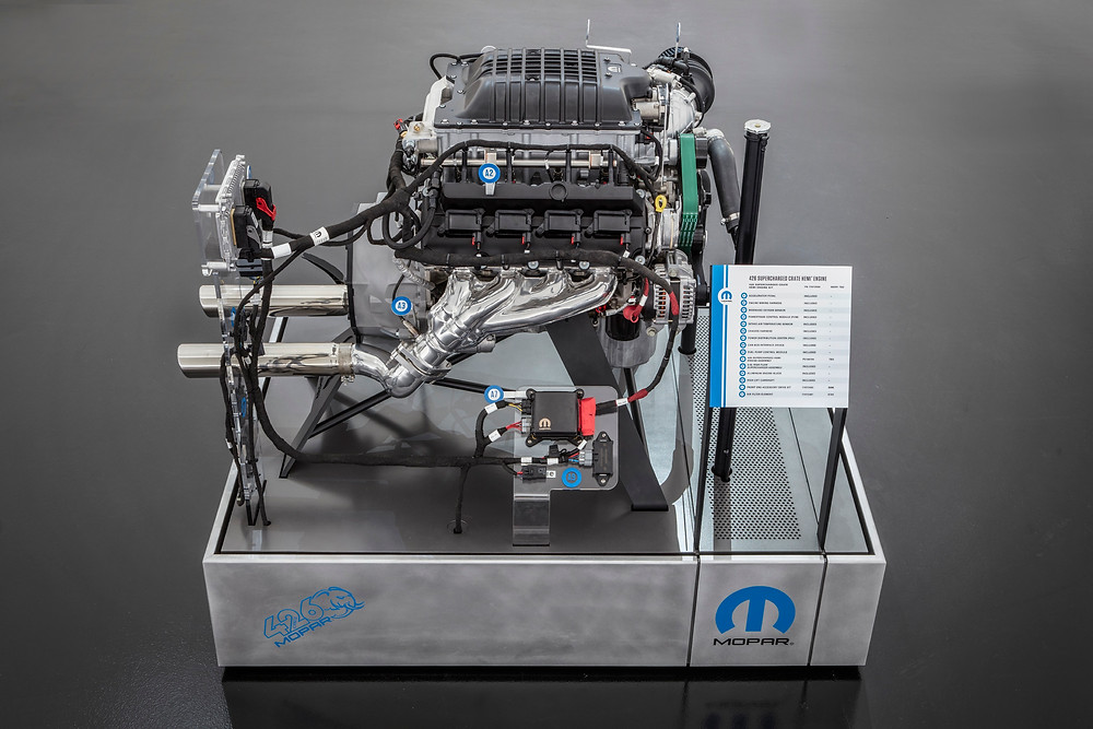 "Mopar is celebrating Hemi Day (4/26) by opening preorders for the 1,000-horsepower ""Hellephant"" 426 Supercharged Crate HEMI Engine and Kit. Originally unveiled at the 2018 SEMA Show in Las Vegas last fall, the ""Hellephant"" is a Mopar-first for a 1,000-horsepower crate engine kit offered by an Original Equipment Manufacturer, paired with a stunning 950 lb.-ft. of torque."