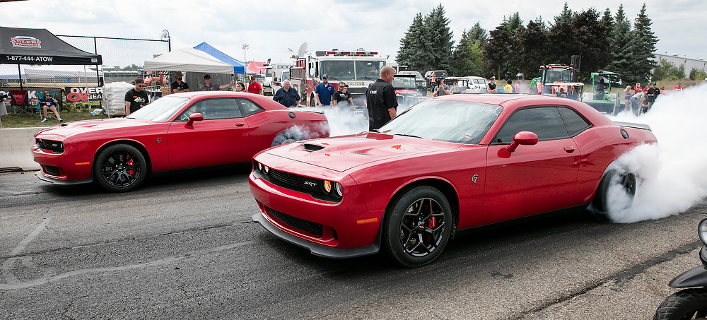 Two Dodge Challenger SRT Hellcats face off at Roadkill Nights Powered by Dodge.