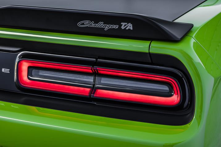 2017 Dodge Challenger T/A black deck-lid spoiler with Challenger T/A badge.
