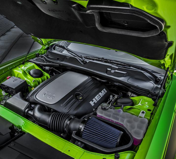 2017 Dodge Challenger T/A engine with NACA ducted hood now designed to feed a modified SRT Hellcat air box with Mopar conical filter, which optimizes cold air intake through these two signature fresh-air inlets.
