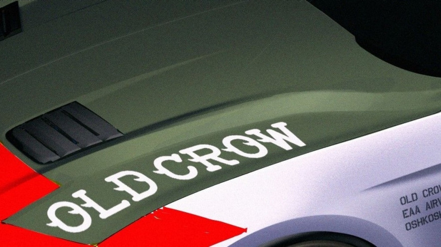"The ""Old Crow"" Ford Mustang GT wears an authentic paint scheme and badging similar to that of Anderson's P-51 Mustangs"