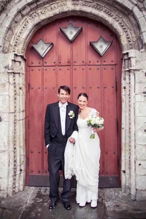 Bryllupsfoto portrett av brudepar