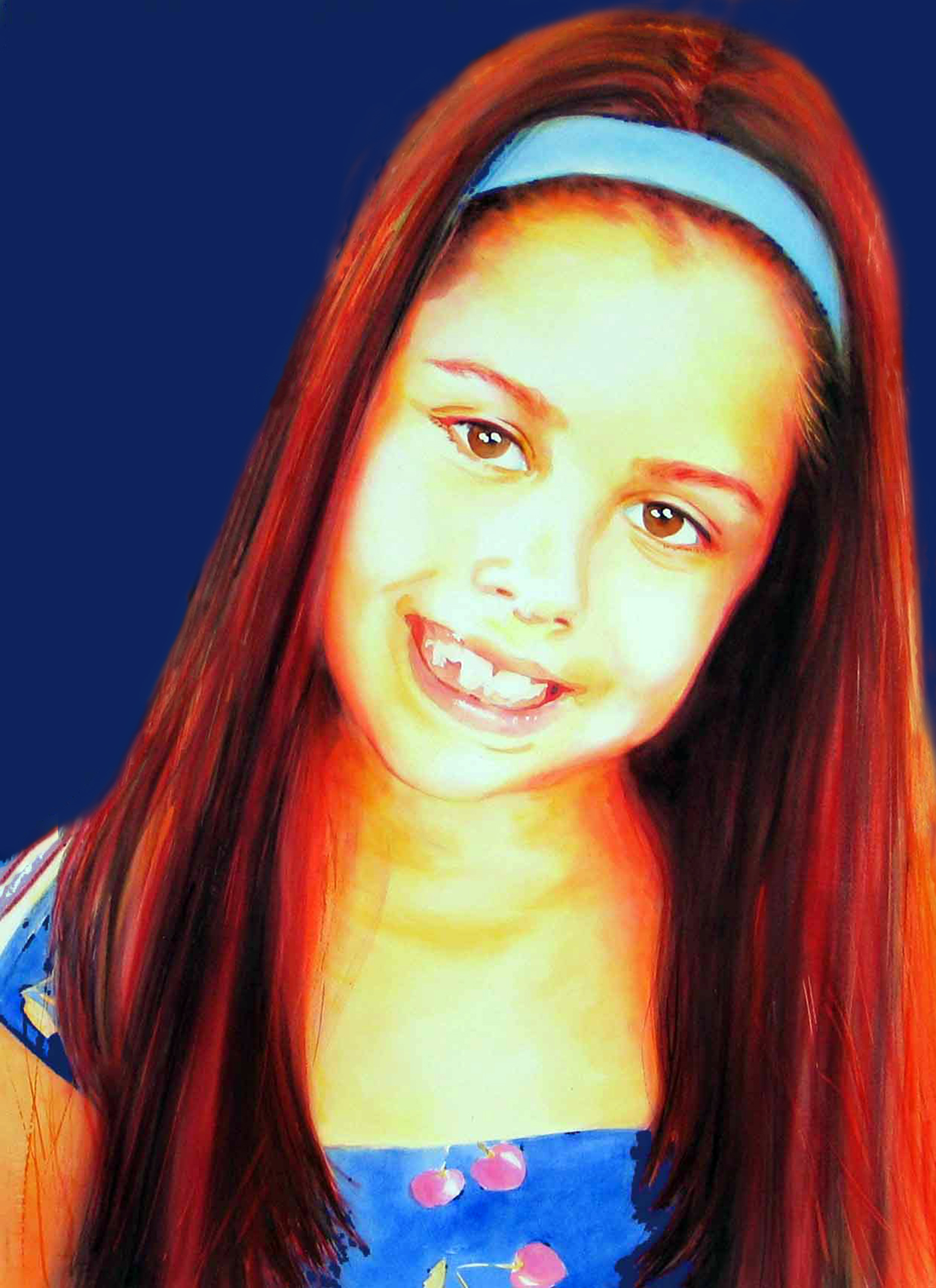 Image of Kayla with Darker Blue Background