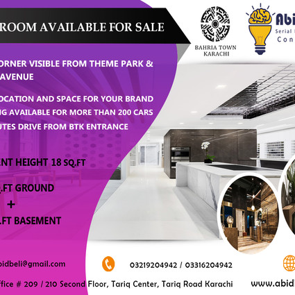 2630 sqft, 3 Side Corner Showroom available for sale in Bahria Town Karachi