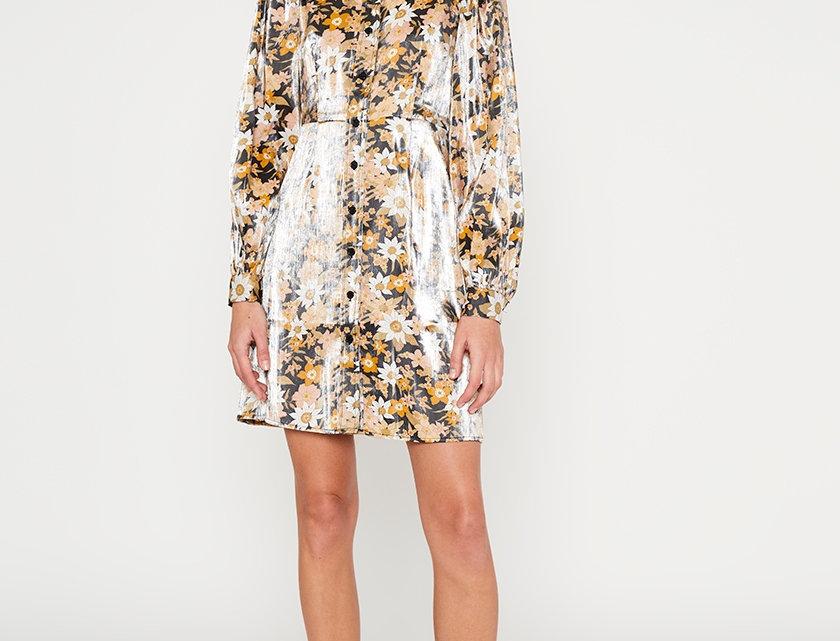 Shiny Floral Shirt Dress