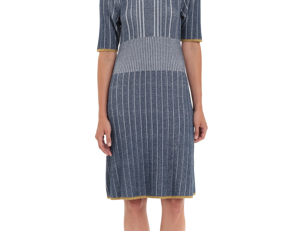 Plated Weave Striped Dress