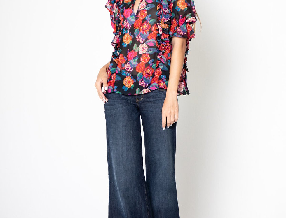 Floral Print V-Neck Ruffle Top