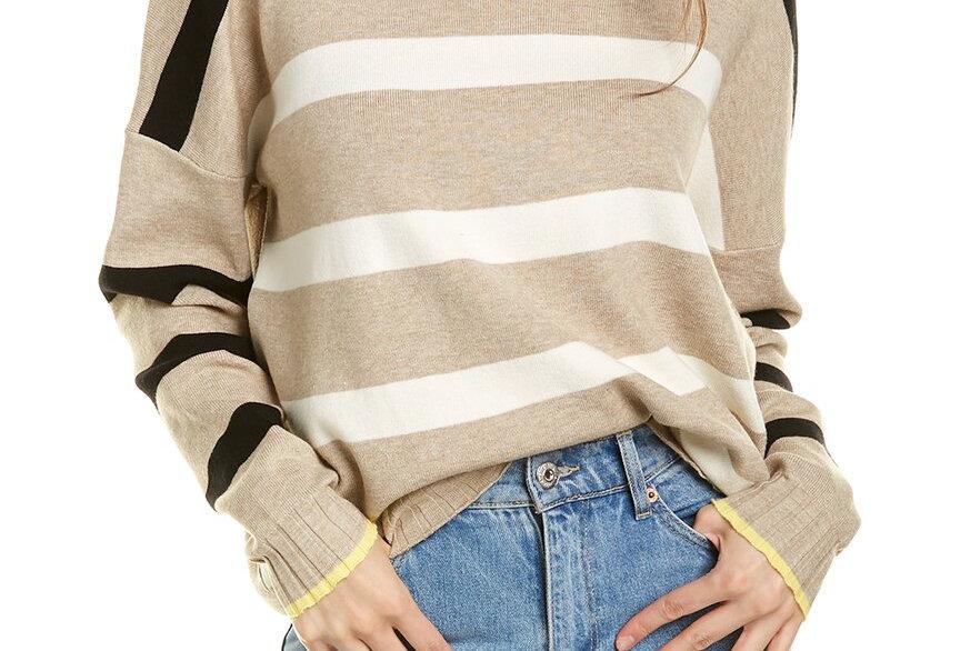 Star & Heart Elbow Striped Sweater