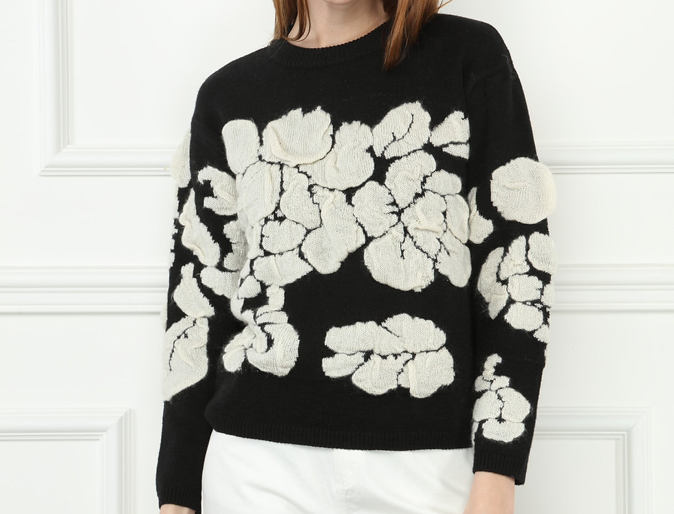 White on Black Floral Sweater