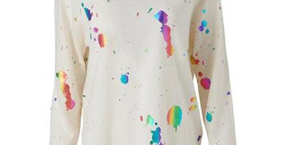 Rainbow Foil Cashmere Sweatshirt