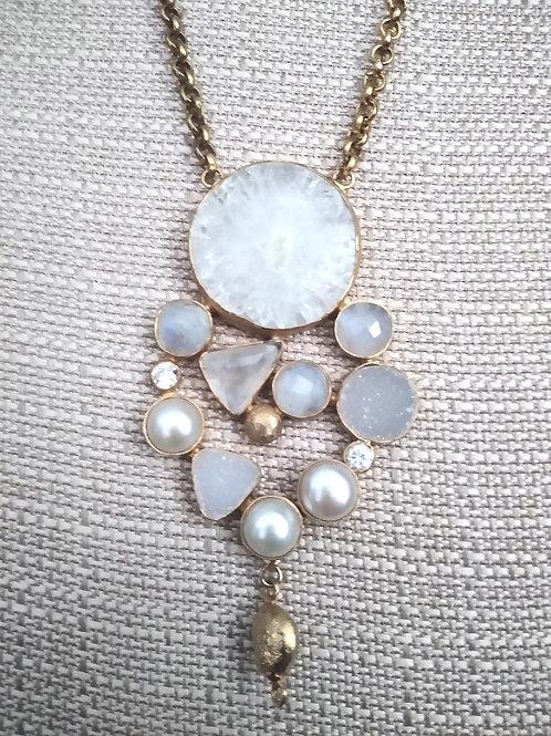 Moonstone & Pearl Pendant