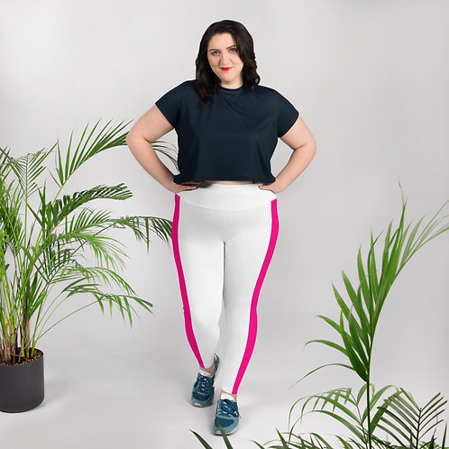 White with Pink Stripe All-Over Print Plus Size Leggings