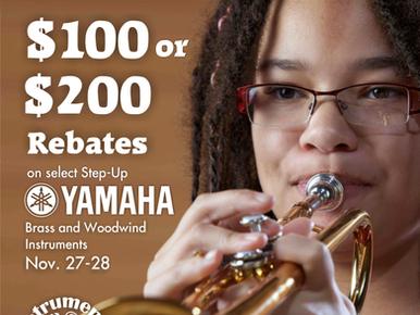Save $100-$200 on Yamaha Brass & Woodwind Upgrades Nov. 27th-28th