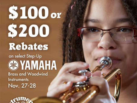 Save $100-$200 on Yamaha Brass & Woodwind Upgrades Nov. 27th-28th