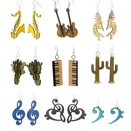 Laser Cut Wood Earrings - (Choose Style)