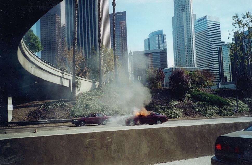 Burning Car on The 110