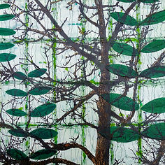 Victoria Eubanks Encaustic Art Tree & Leaves