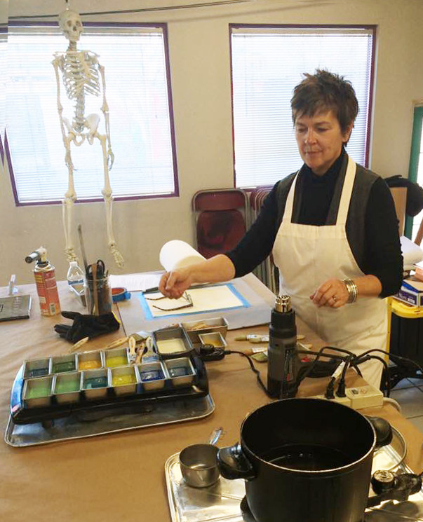 Mr. Bones here was particularly interested in the encaustic process!