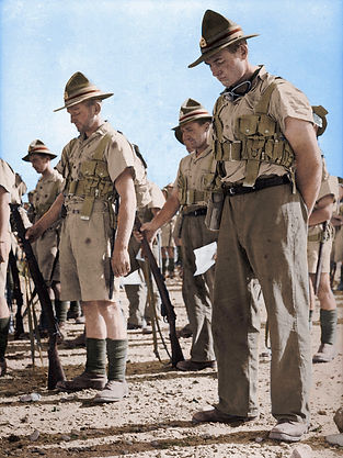 New Zealand soldiers on ANZAC Day, 1940.