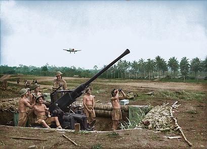 An Australian anti-aircraft gun on the r