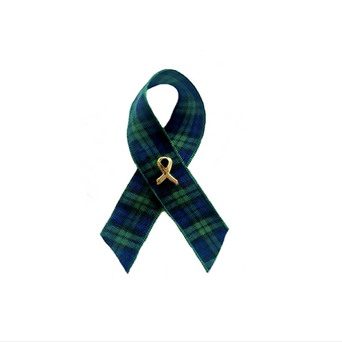 HADDS Plaids Awareness Ribbon with Gold Pin