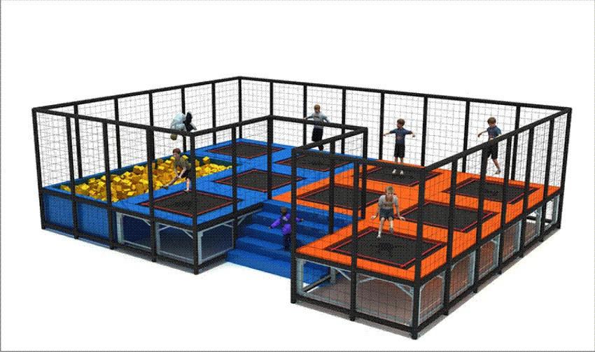 estação de trampolins (trampolim park) com piscina de espumas