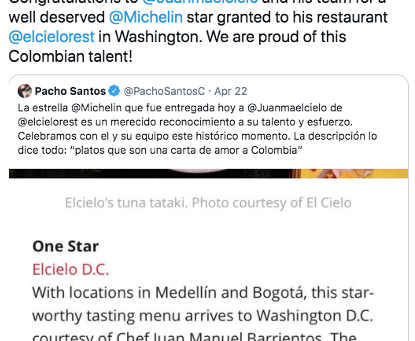 Michelin Awards First Star to a Colombian Restaurant, Elcielo D.C.