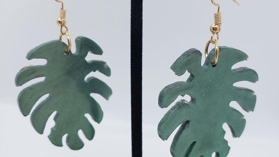 Hunter green leaf earrings