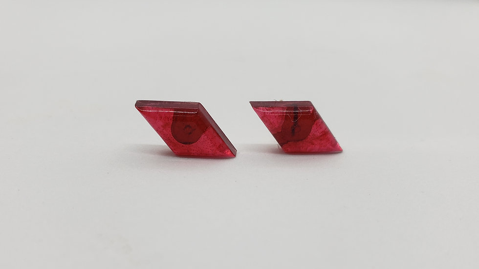 Red diamond shaped stud earrings