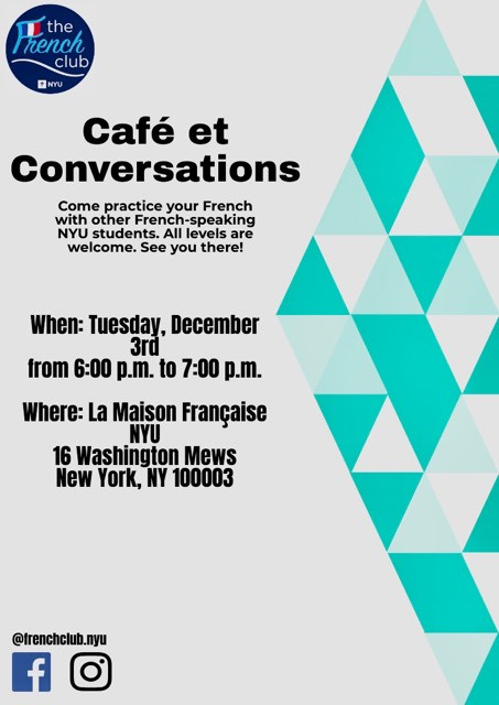 Join us for the final Café et Conversations of the year on Tuesday, 3rd of December from 6-7pm at La Maison Française! As requested, we will be providing conversation topics (which we will also send out tomorrow incase you want time to think about it) and we will also provide level stickers to help facilitate the conversation. So don't be shy! Bring a friend, or come alone, either way you'll find someone to practice your french with!
