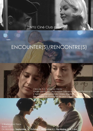 """The Ciné Club proudly announces its Fall 2019 series!  This semester will be dedicated to Encounters : in the first movie, """"Cléo de 5 à 7"""" by Agnès Varda (September 16), a famous singer's uneasy wandering is Paris is modified by her unexpected encounter with a young man. In """"Poulet aux prunes"""" by Marjane Satrapi & Vincent Paronnaud (October 7), a musician's life is dramatically changed when he meets a mysterious woman, who symbolizes his artistic inspiration as well as his home country (her name is Irâne, or """"Iran""""). In """"L'Auberge espagnole"""" by Cédric Klapisch (November 4), Xavier, a young French student, has the opportunity to live in Barcelona for one year, where he does not only encounter new people, but a new city, where he experiences a whole new way of life. Finally, """"Les Amants du Pont-Neuf"""" by Leos Carax (December 2) is the outstandingly poetic depiction of an encounter between two characters whose social background is radically different.  We can't wait to meet you there!"""