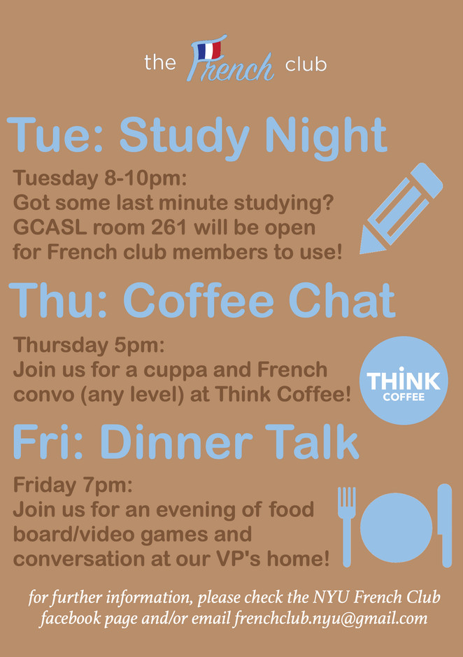 MEET UP WEEK! This week we really want to encourage everyone to get to know each other better and use french in a more intimate setting, We hope you are able to meet up with your FLPP group, but we also have some small meet-ups planned to help you mingle. Please check the individual events for more details and click attending so we know how many people to expect! Those of all levels are welcome to join us; even our e-board is comprised of speakers of all different levels so don't be shy!