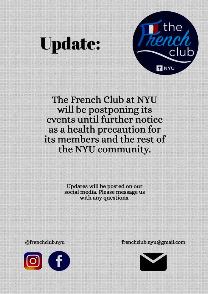 An important update from the NYU French Club: