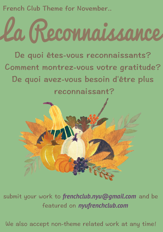 Want to practice your written French? Try writing something for this month's theme.. thankfulness!