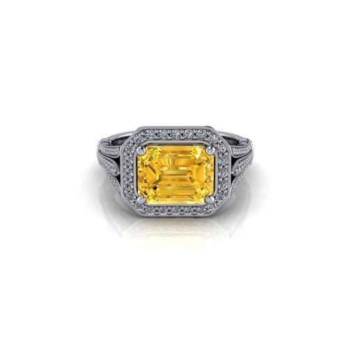 THREE CLAW-SET YELLOW DIAMOND RING
