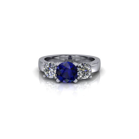 THREE STONE DIAMOND AND SAPPHIRE ENGAGEMENT RING