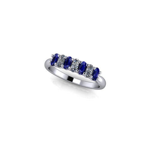 OVAL CLAW SET DIAMOND AND SAPPHIRE RING
