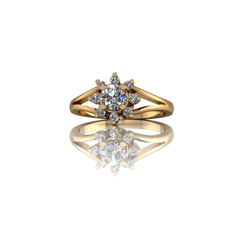 CLASSIC YELLOW GOLD CLUSTER ENGAGEMENT RING
