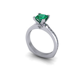 PRINCESS CUT EMERALD ENGAGEMENT RING
