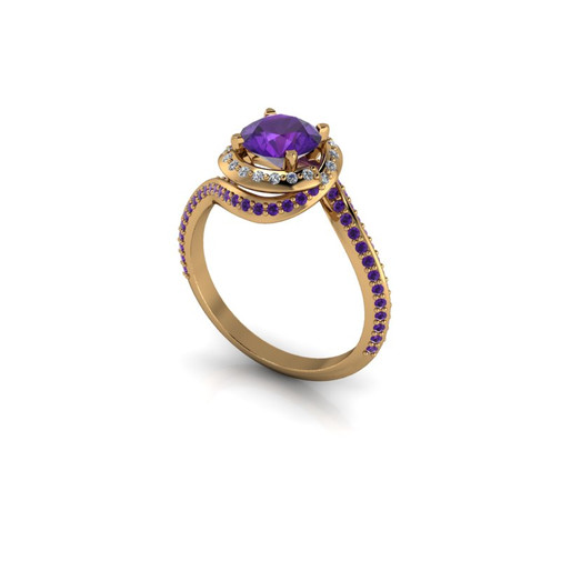 AMETHYST TWIRL SOLITAIRE RING